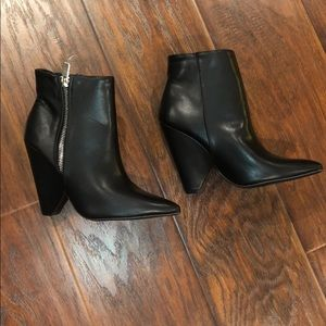 Brand New Black Booties with Side Zipper